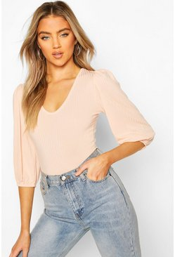 Blush Ribbed Scoop Neck Blouson Bodysuit