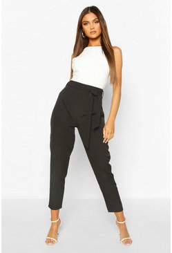 Black Tie Front Tailored Slim Leg Trousers