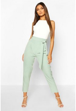 Sage Tie Front Tailored Slim Leg Trousers