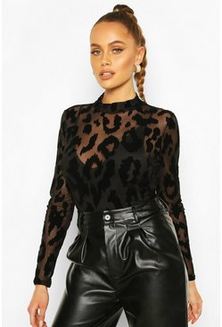 Black Mesh Leopard Print Flocked High Neck Bodysuit