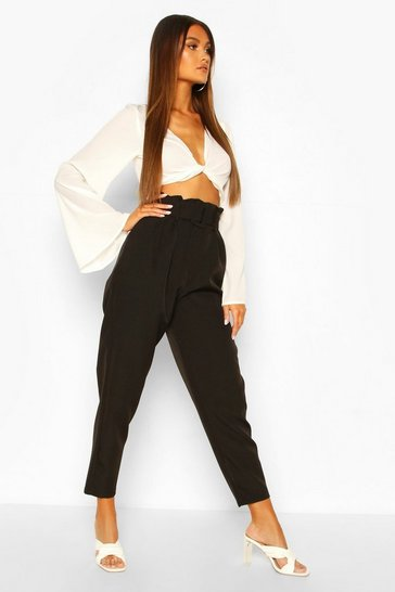Black Paperbag Waist Belted Slim Leg Trouser