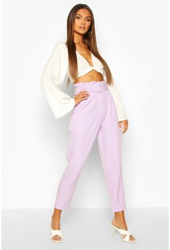 Lilac Paperbag Waist Belted Slim Leg Trouser