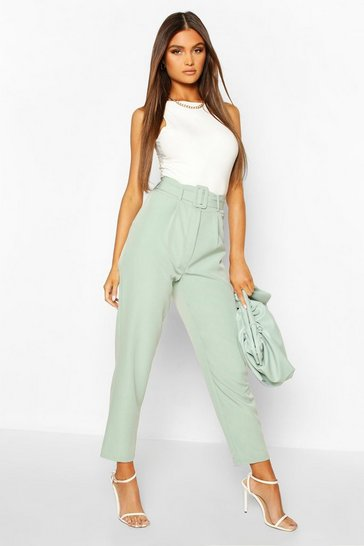 Sage Belted Pleat Front Ankle Grazer Trouser