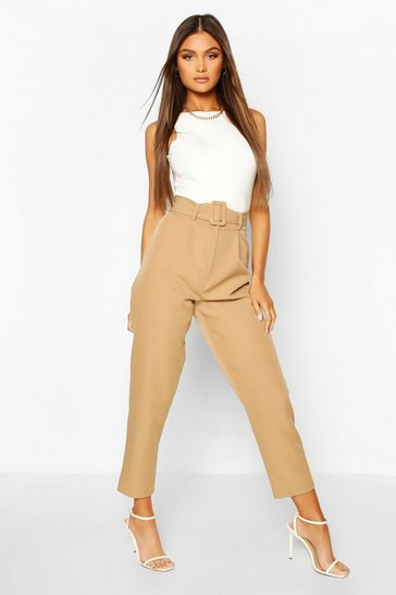 Sand Belted Pleat Front Ankle Grazer Trouser