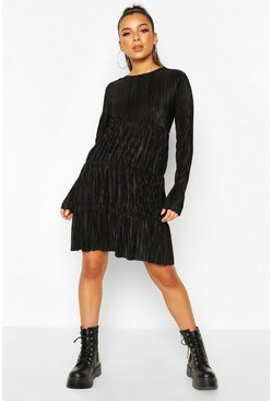 Black Pleated Long Sleeve Tiered Smock Dress