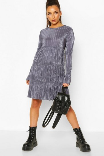 Petrol Pleated Long Sleeve Tiered Smock Dress