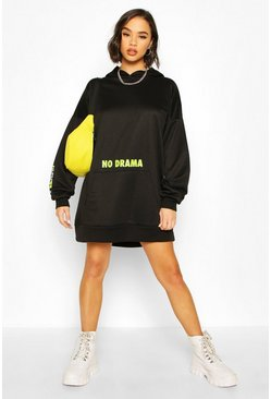 Black Micro Slogan Hooded Sweatshirt Dress
