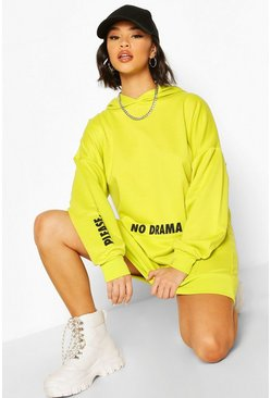Neon-yellow Micro Slogan Hooded Sweatshirt Dress
