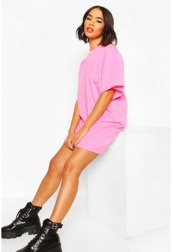 Extreme Sleeve Pleat Sweatshirt Dress, Neon-pink