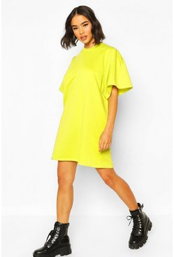 Extreme Sleeve Pleat Sweatshirt Dress, Neon-yellow