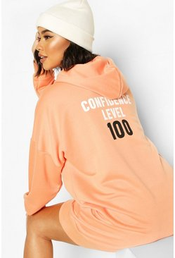 Apricot Back Print Hooded Sweatshirt Dress