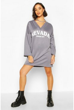 Slogan V Neck Wide Sleeve Sweatshirt Dress, Petrol