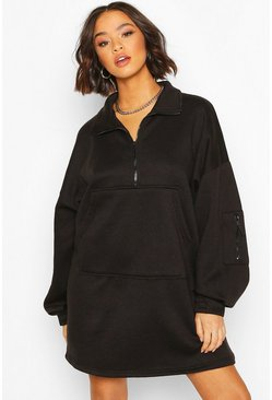 Black Fleece Zip Front Oversized Sweatshirt Dress