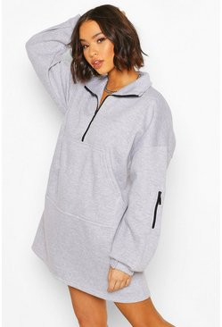 Grey marl Fleece Zip Front Oversized Sweatshirt Dress