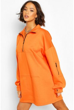 Orange Fleece Zip Front Oversized Sweatshirt Dress