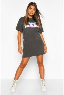 Black Photo Print Washed Short Sleeve T-shirt Dress