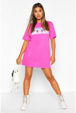 Neon-pink Photo Print Washed Short Sleeve T-shirt Dress