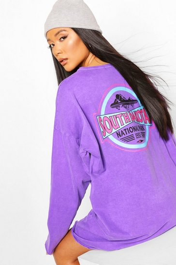 Lilac Print Washed Long Sleeve T-shirt Dress