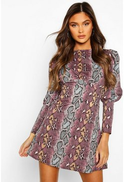 Snake Long Sleeved Empire Line Dress