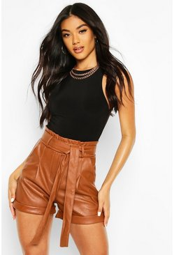 Tan Leather Look Turn Up Tie Waist Shorts
