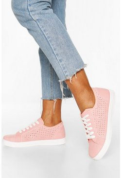 Pink Lazer Cut Lace Up Flat Trainers