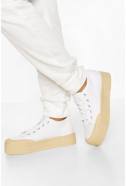 White Contrast Platform Canvas Sneakers