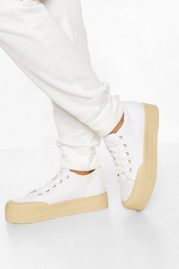 White Contrast Platform Canvas Trainers