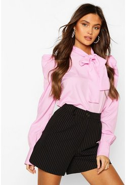 Pink Pussybow Blouse With Sleeve Pleat Detail