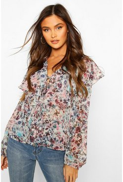 Multi Frill Neck Chiffon Blouse