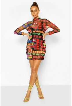 Black Mesh Long Sleeve Oriental Sign Bodycon Mini Dress