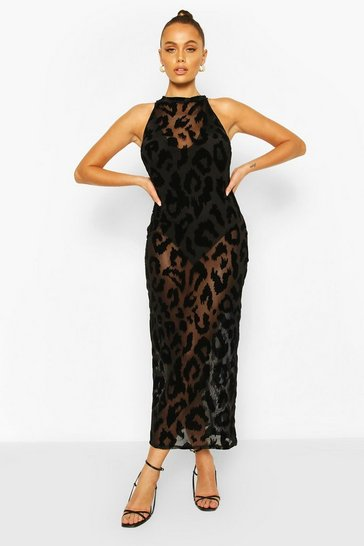 Black Leopard Print Flocked Mesh Midaxi Dress