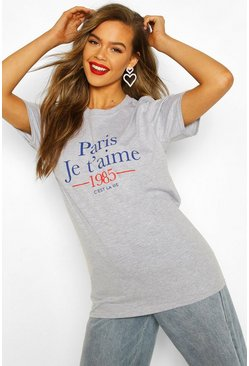 Grey marl Paris French Slogan T-Shirt