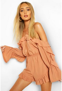 Mocha Off The Shoulder Ruffle Keyhole Playsuit