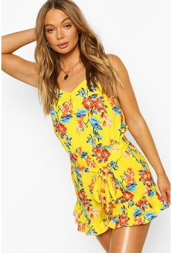 Yellow Floral Ruffle Woven Cami Playsuit