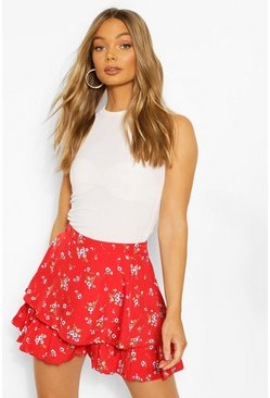 Ditsy Ruffle Short, Red