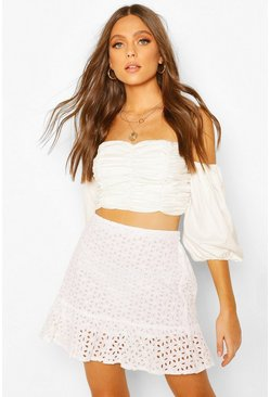 White Broderie Frill Hem Mini Skirt