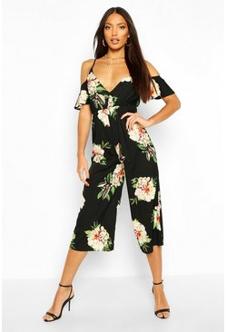 Black Floral Strappy Cold Shoulder Culotte Jumpsuit