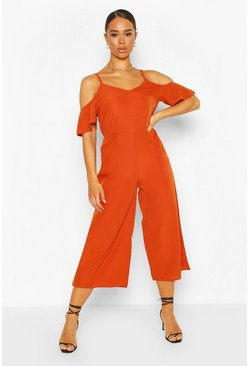 Strappy Cold Shoulder Culotte Jumpsuit, Rust