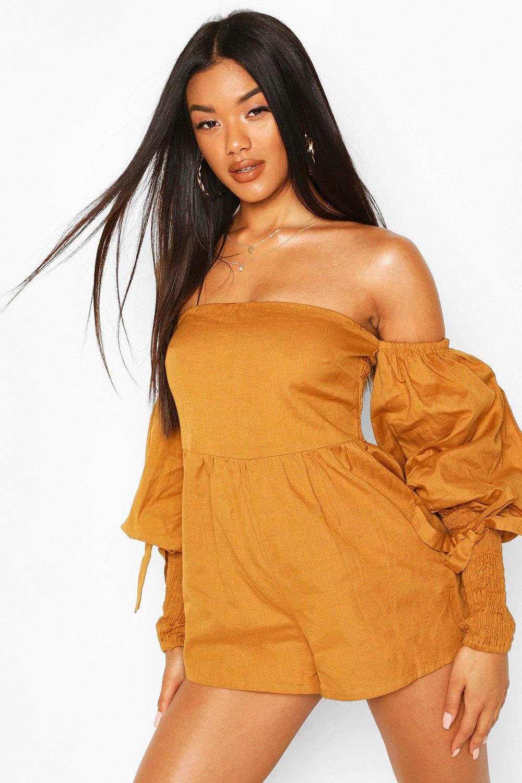 womens linen off shoulder shirred sleeve romper - brown - 10