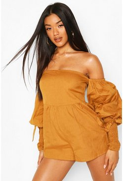 Tan Linen Off Shoulder Shirred Sleeve Romper