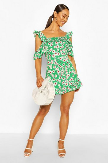 Green Daisy Ruffle Strap Playsuit