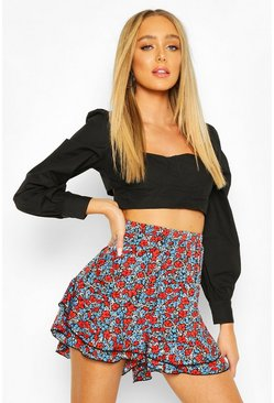 Floral Ruffle Shorts, Black
