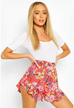 Tropical Floral Print Flippy Shorts, Red