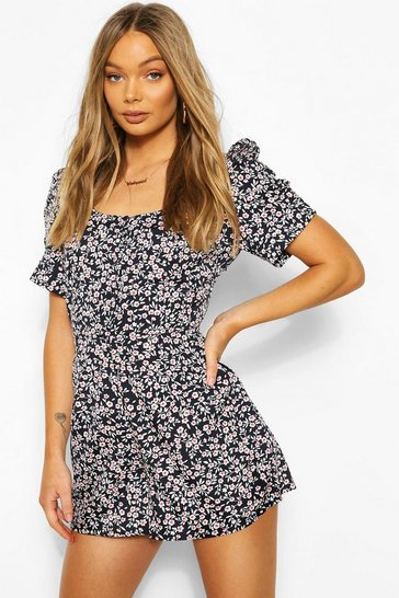 Navy Ditsy Floral Button Puff Sleeve Playsuit