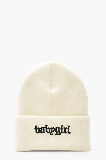 Cream Baby Girl Beanie