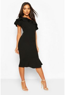Black One Shoulder Ruffle Frill Midi Dress