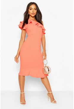 Coral One Shoulder Ruffle Frill Midi Dress
