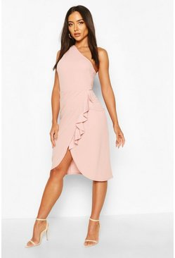 Blush One Shoulder Ruffle Detail Midi Dress