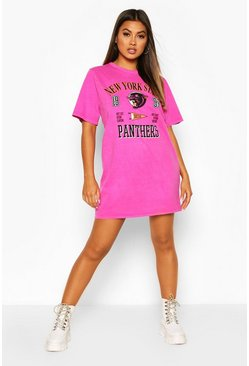 Raspberry Panthers Printed Short Sleeve T-Shirt Dress