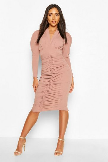 Mink Puff Sleeve Ruched Skirt Midi Dress